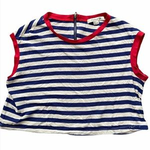 Forever 21 Navy Stripes w/Red Piping Crop Top
